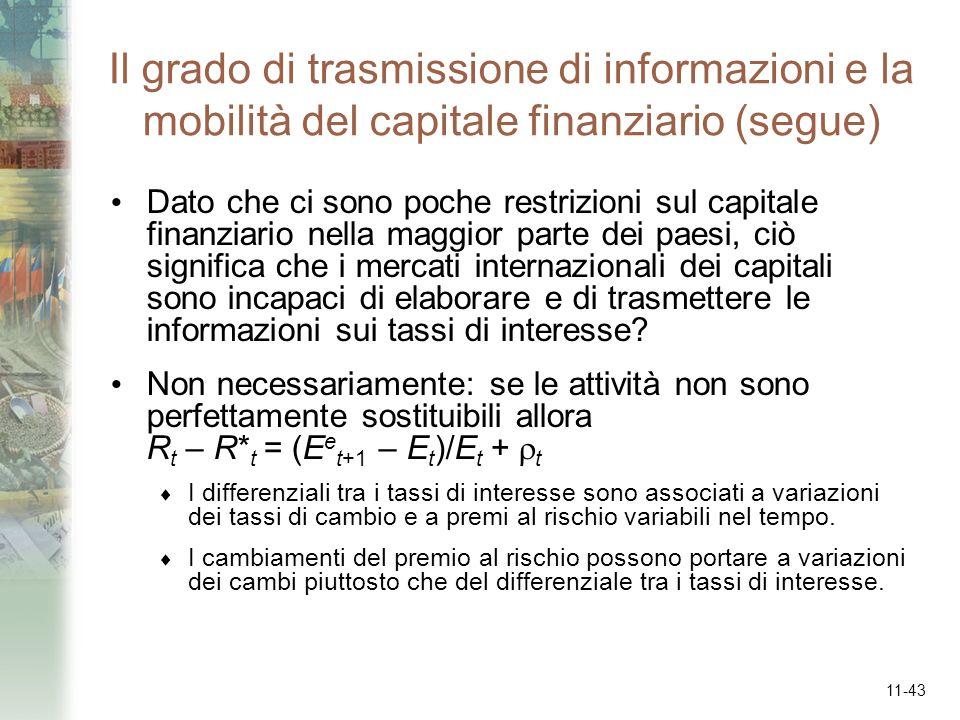 11-43 Il grado di trasmissione di informazioni e la mobilità del capitale finanziario (segue) Dato che ci sono poche restrizioni sul capitale finanzia