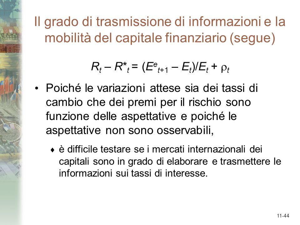 11-44 Il grado di trasmissione di informazioni e la mobilità del capitale finanziario (segue) R t – R* t = (E e t+1 – E t )/E t + t Poiché le variazio