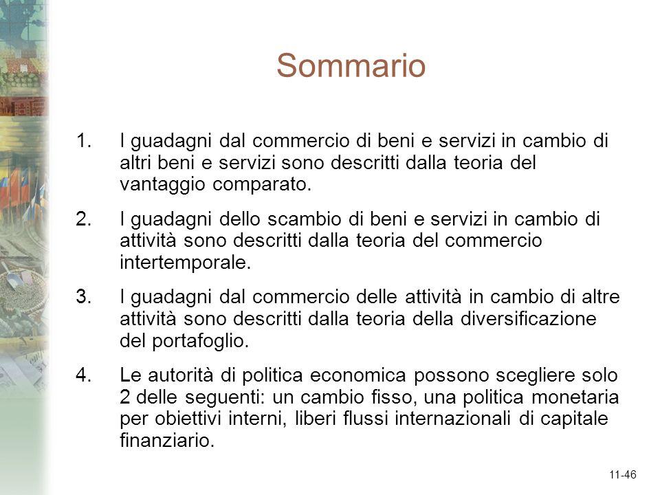 11-46 Sommario 1.I guadagni dal commercio di beni e servizi in cambio di altri beni e servizi sono descritti dalla teoria del vantaggio comparato. 2.I