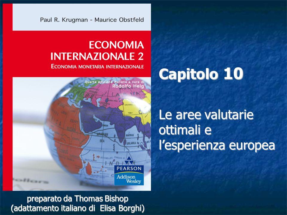 10-32 La teoria delle aree valutarie ottimali (segue) In un dato punto critico che misura il grado di integrazione, il guadagno di efficienza monetaria supererà la perdita di stabilità economica per un membro che sta valutando ladesione ad un sistema di cambi fissi.