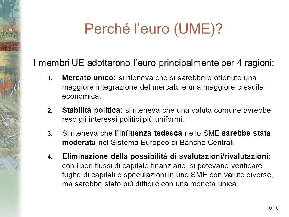 10-10 Perché leuro (UME)? I membri UE adottarono leuro principalmente per 4 ragioni: 1. Mercato unico: si riteneva che si sarebbero ottenute una maggi