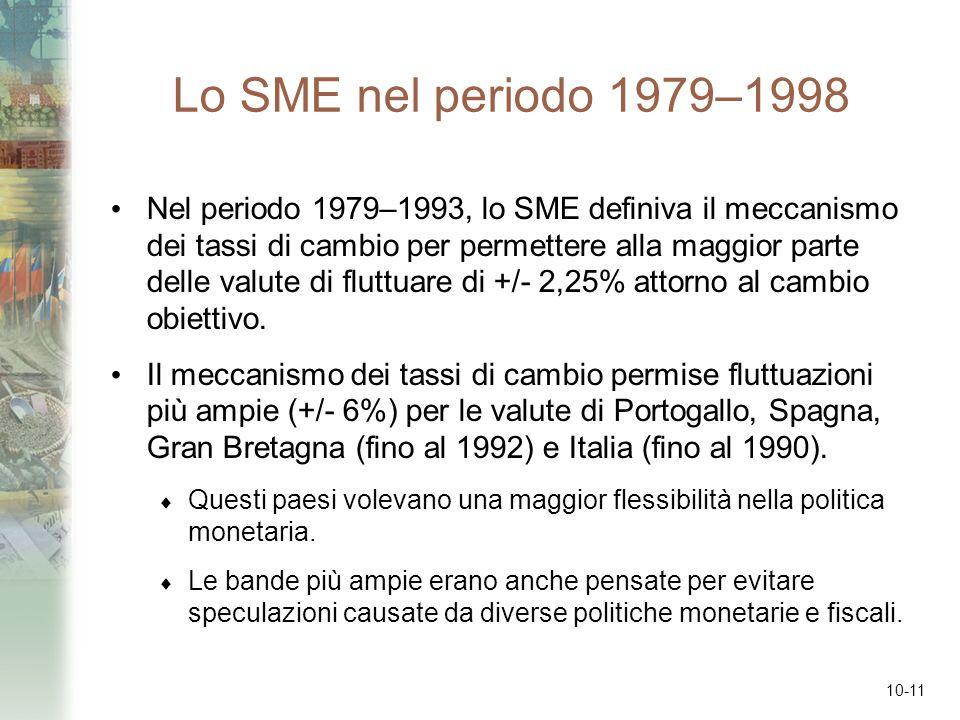 10-11 Lo SME nel periodo 1979–1998 Nel periodo 1979–1993, lo SME definiva il meccanismo dei tassi di cambio per permettere alla maggior parte delle va