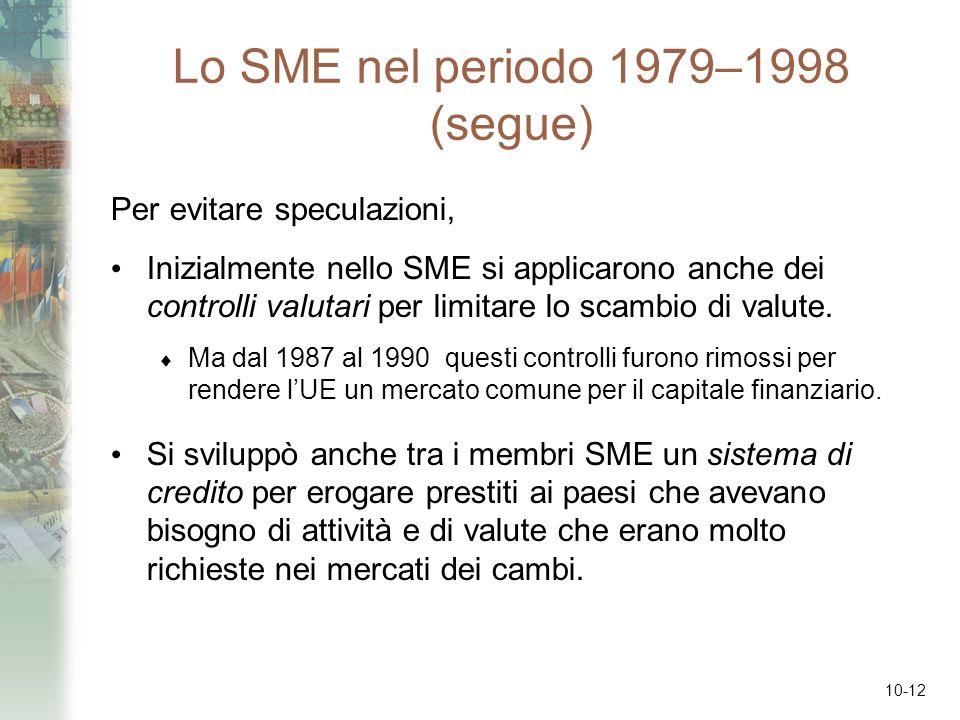 10-12 Lo SME nel periodo 1979–1998 (segue) Per evitare speculazioni, Inizialmente nello SME si applicarono anche dei controlli valutari per limitare l