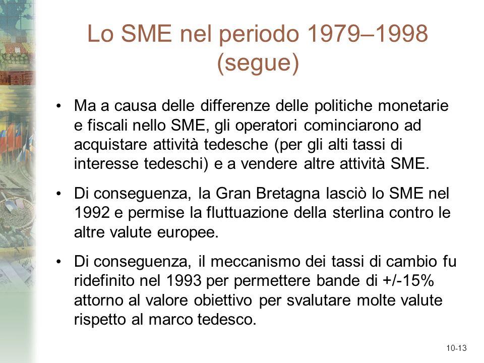 10-13 Lo SME nel periodo 1979–1998 (segue) Ma a causa delle differenze delle politiche monetarie e fiscali nello SME, gli operatori cominciarono ad ac