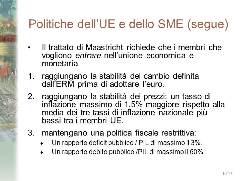 10-17 Politiche dellUE e dello SME (segue) Il trattato di Maastricht richiede che i membri che vogliono entrare nellunione economica e monetaria 1.rag