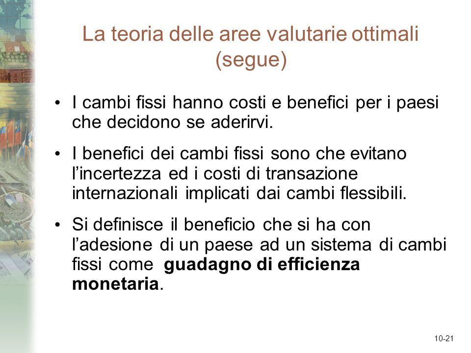 10-21 La teoria delle aree valutarie ottimali (segue) I cambi fissi hanno costi e benefici per i paesi che decidono se aderirvi. I benefici dei cambi