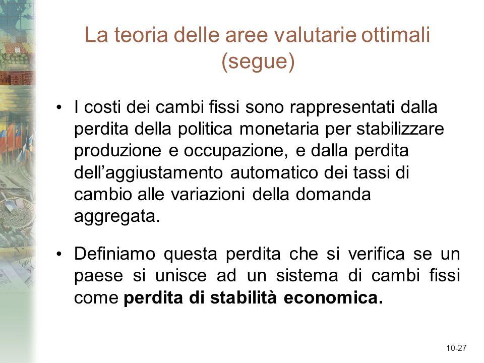 10-27 La teoria delle aree valutarie ottimali (segue) I costi dei cambi fissi sono rappresentati dalla perdita della politica monetaria per stabilizza