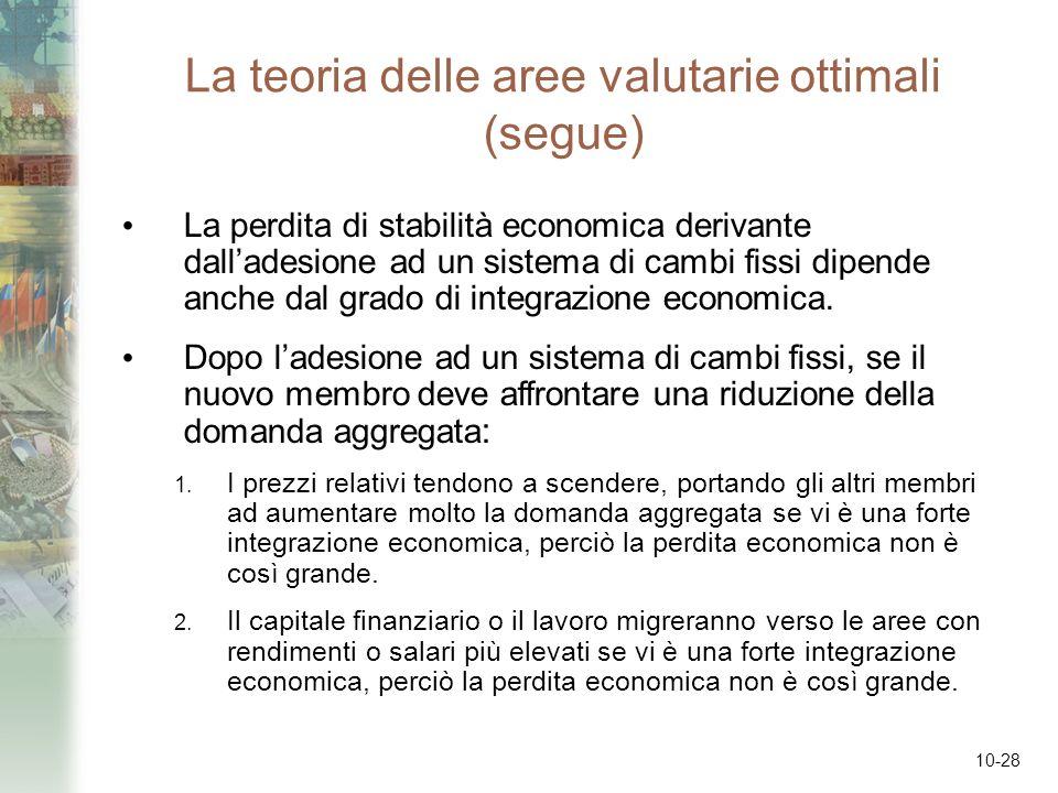 10-28 La teoria delle aree valutarie ottimali (segue) La perdita di stabilità economica derivante dalladesione ad un sistema di cambi fissi dipende an