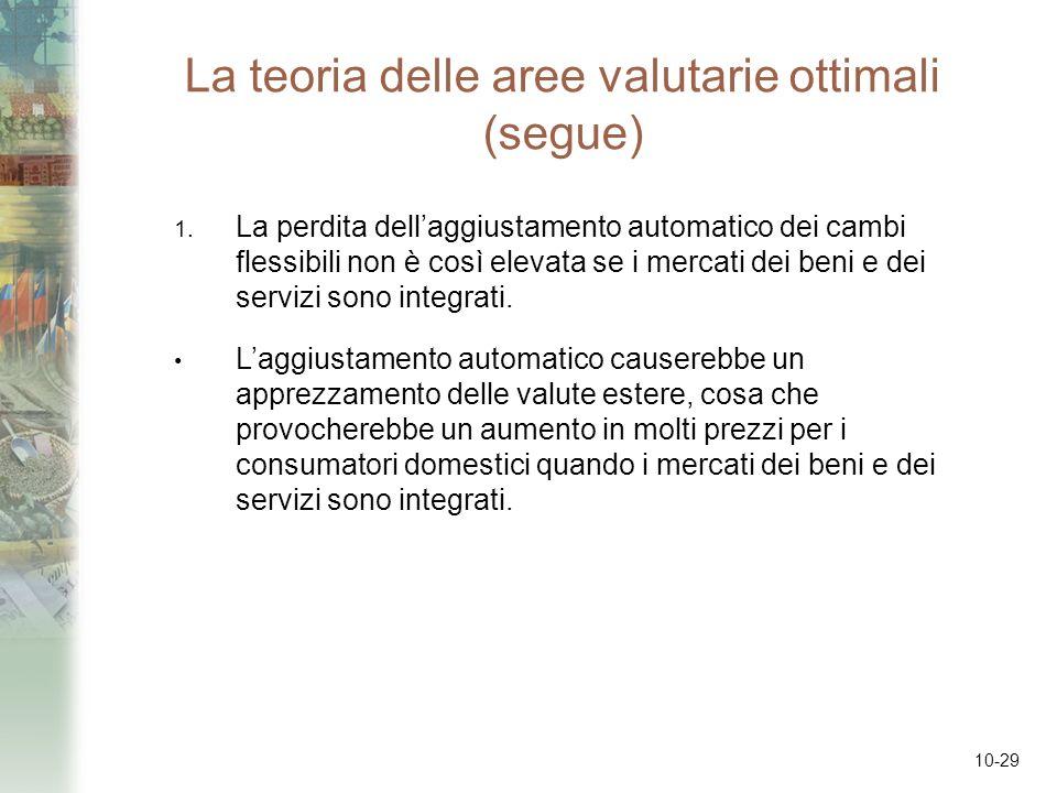 10-29 La teoria delle aree valutarie ottimali (segue) 1. La perdita dellaggiustamento automatico dei cambi flessibili non è così elevata se i mercati
