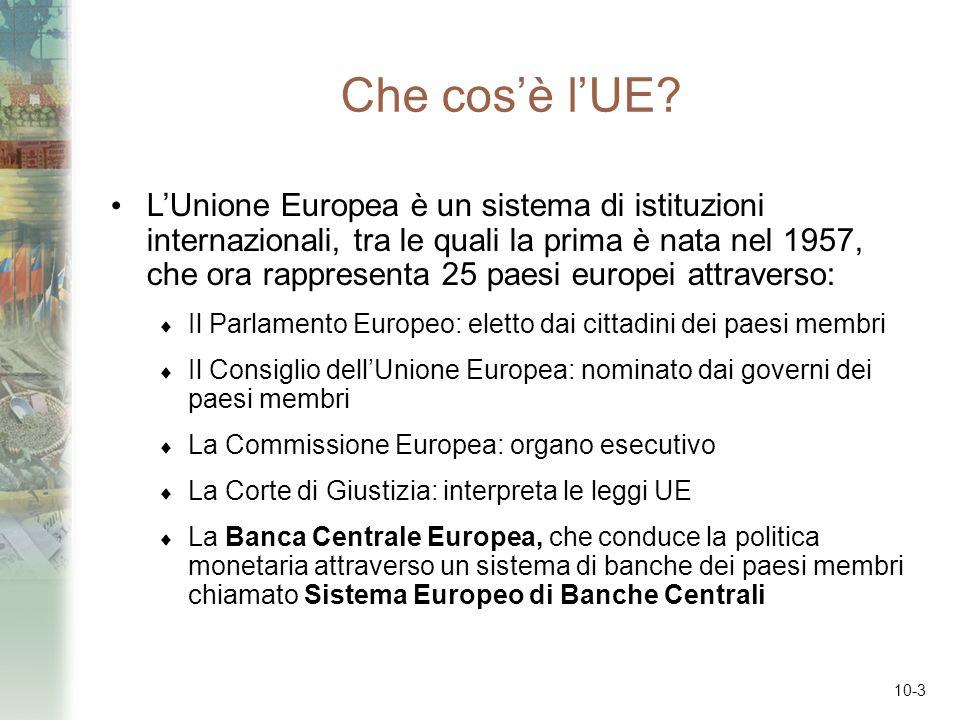 10-3 Che cosè lUE? LUnione Europea è un sistema di istituzioni internazionali, tra le quali la prima è nata nel 1957, che ora rappresenta 25 paesi eur