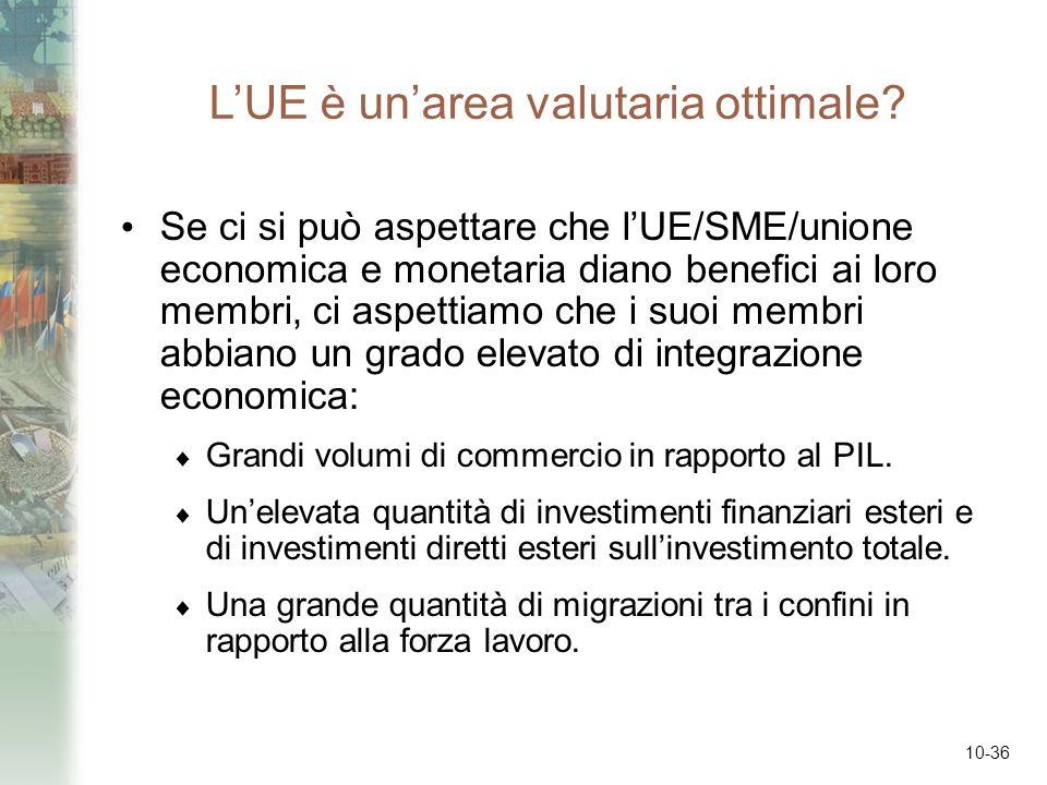 10-36 LUE è unarea valutaria ottimale? Se ci si può aspettare che lUE/SME/unione economica e monetaria diano benefici ai loro membri, ci aspettiamo ch