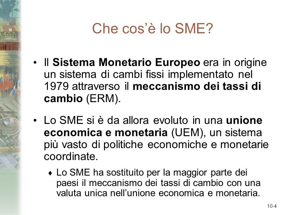 10-4 Che cosè lo SME? Il Sistema Monetario Europeo era in origine un sistema di cambi fissi implementato nel 1979 attraverso il meccanismo dei tassi d