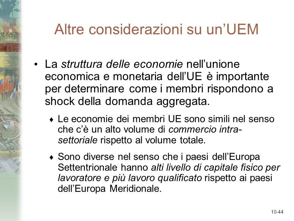 10-44 Altre considerazioni su unUEM La struttura delle economie nellunione economica e monetaria dellUE è importante per determinare come i membri ris