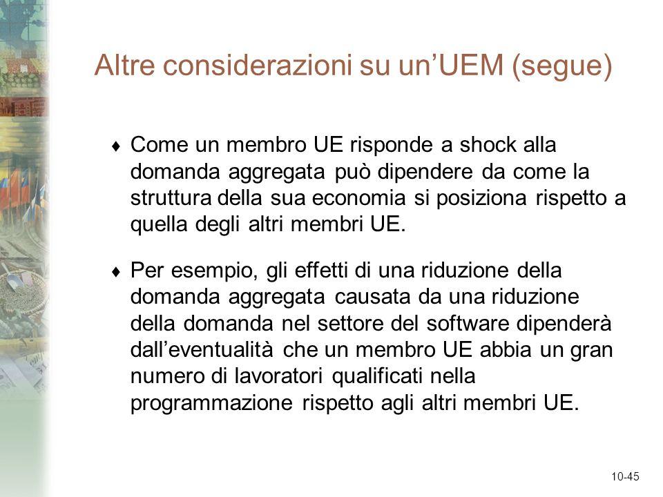 10-45 Altre considerazioni su unUEM (segue) Come un membro UE risponde a shock alla domanda aggregata può dipendere da come la struttura della sua eco