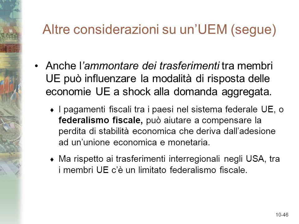 10-46 Altre considerazioni su unUEM (segue) Anche lammontare dei trasferimenti tra membri UE può influenzare la modalità di risposta delle economie UE