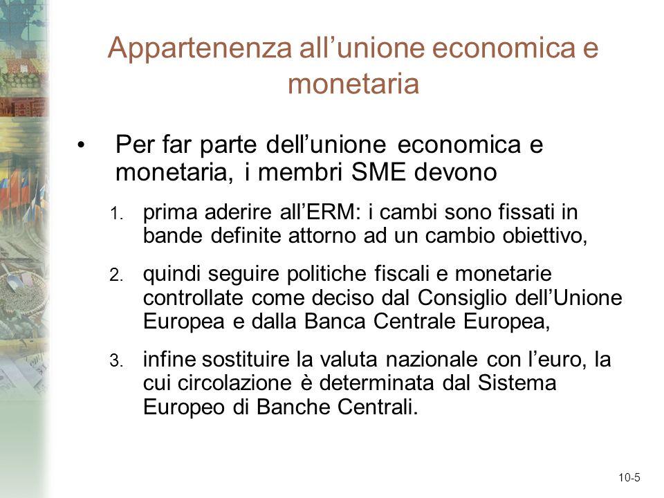 10-5 Appartenenza allunione economica e monetaria Per far parte dellunione economica e monetaria, i membri SME devono 1. prima aderire allERM: i cambi