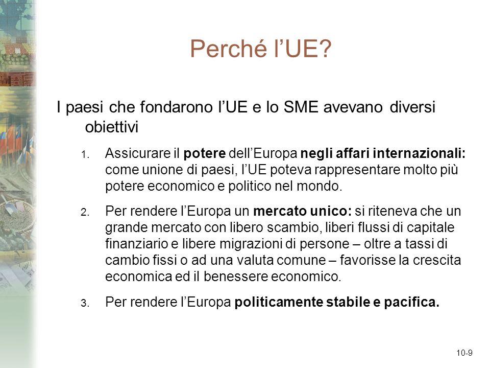 10-9 Perché lUE? I paesi che fondarono lUE e lo SME avevano diversi obiettivi 1. Assicurare il potere dellEuropa negli affari internazionali: come uni