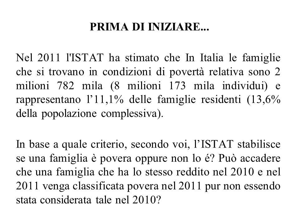 PRIMA DI INIZIARE... Nel 2011 l'ISTAT ha stimato che In Italia le famiglie che si trovano in condizioni di povertà relativa sono 2 milioni 782 mila (8