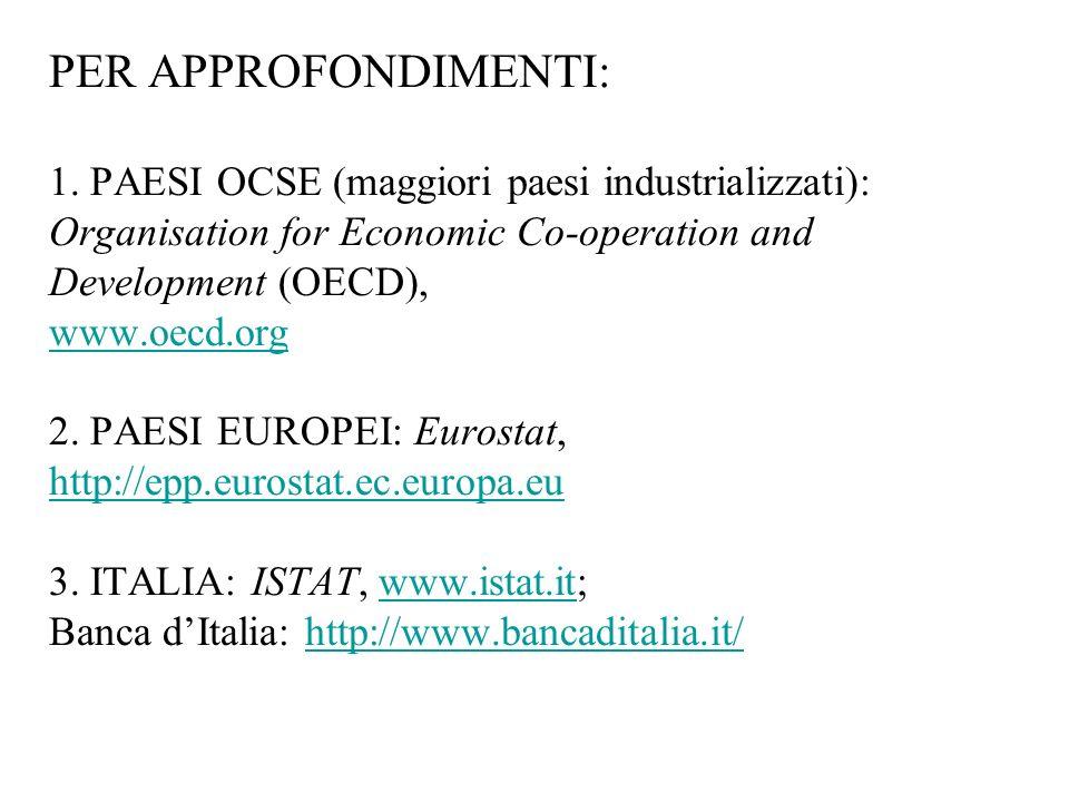 PER APPROFONDIMENTI: 1. PAESI OCSE (maggiori paesi industrializzati): Organisation for Economic Co-operation and Development (OECD), www.oecd.org 2. P