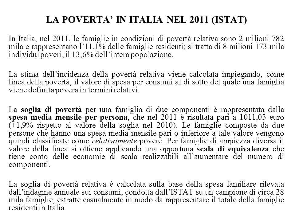 LA POVERTA IN ITALIA NEL 2011 (ISTAT) In Italia, nel 2011, le famiglie in condizioni di povertà relativa sono 2 milioni 782 mila e rappresentano l11,1% delle famiglie residenti; si tratta di 8 milioni 173 mila individui poveri, il 13,6% dellintera popolazione.