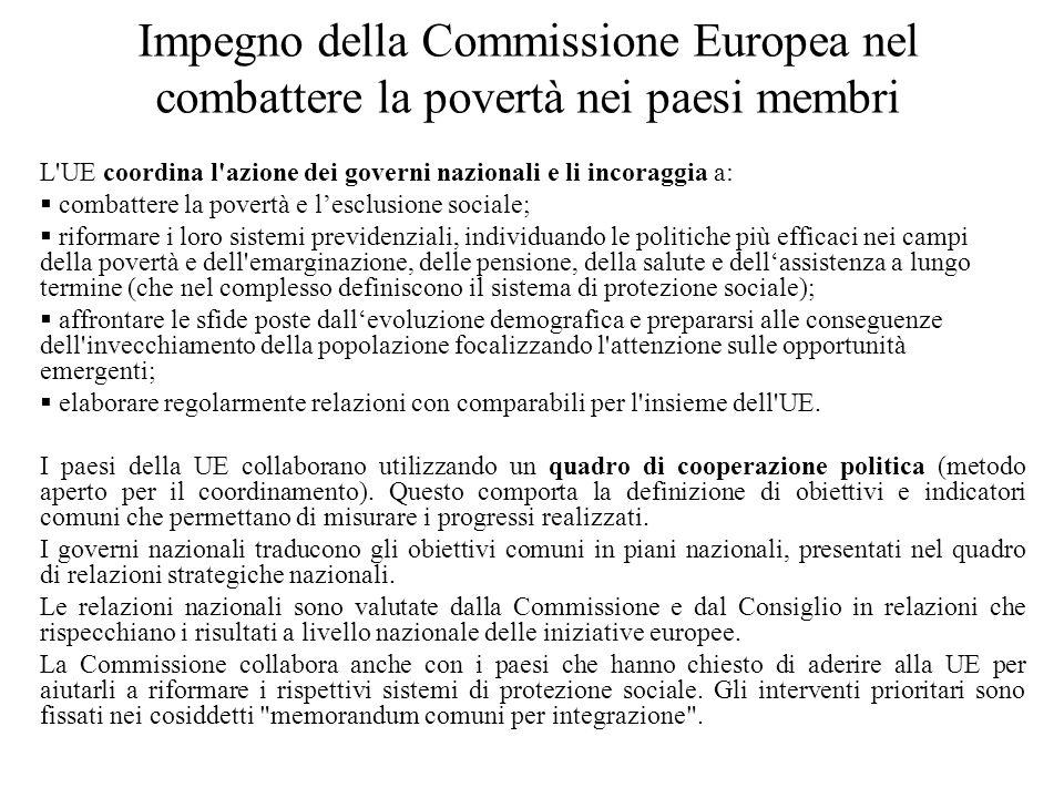Impegno della Commissione Europea nel combattere la povertà nei paesi membri L'UE coordina l'azione dei governi nazionali e li incoraggia a: combatter