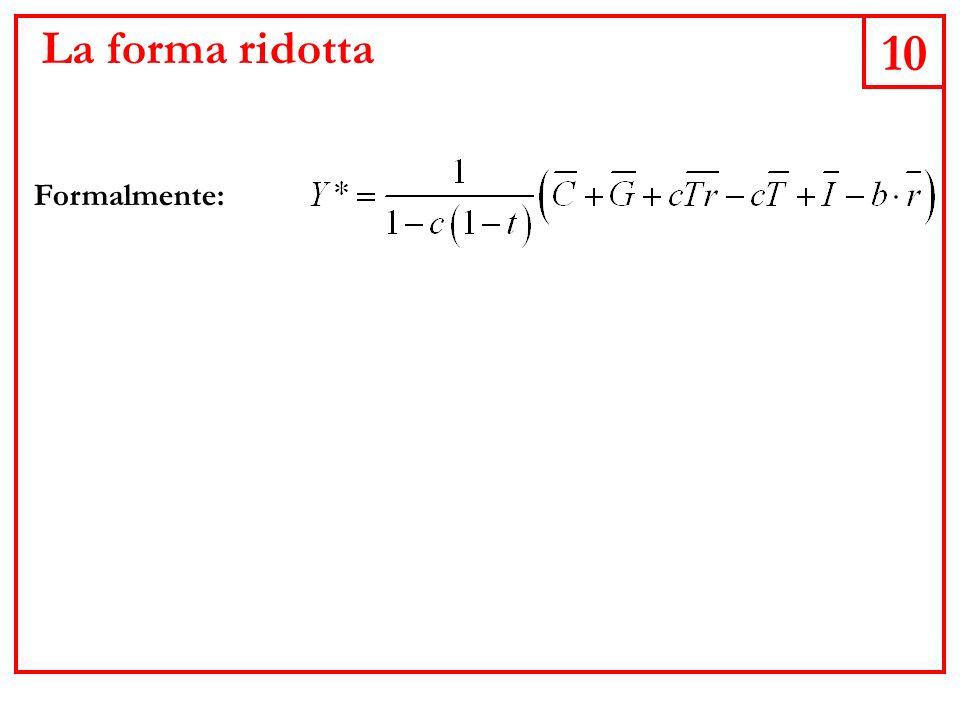 10 La forma ridotta Formalmente: