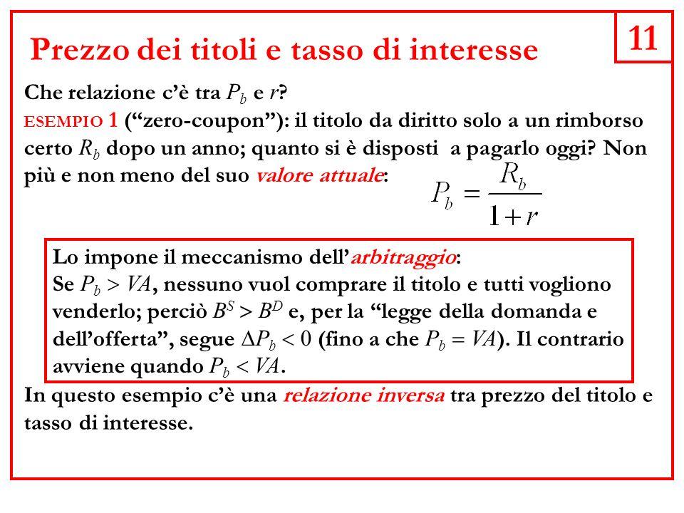 11 Prezzo dei titoli e tasso di interesse Che relazione cè tra P b e r .