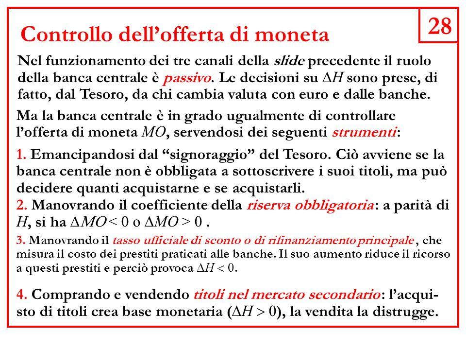 28 Controllo dellofferta di moneta Nel funzionamento dei tre canali della slide precedente il ruolo della banca centrale è passivo.