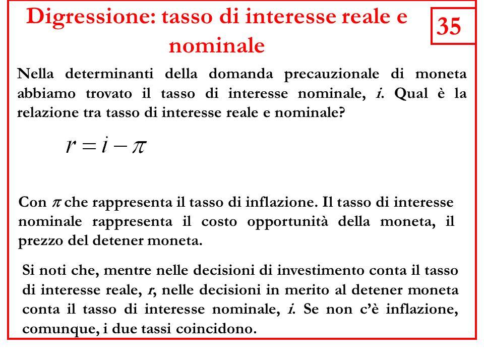 35 Digressione: tasso di interesse reale e nominale Nella determinanti della domanda precauzionale di moneta abbiamo trovato il tasso di interesse nominale, i.