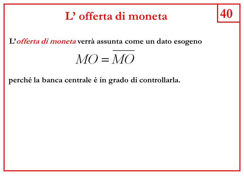 40 L offerta di moneta Lofferta di moneta verrà assunta come un dato esogeno perché la banca centrale è in grado di controllarla.