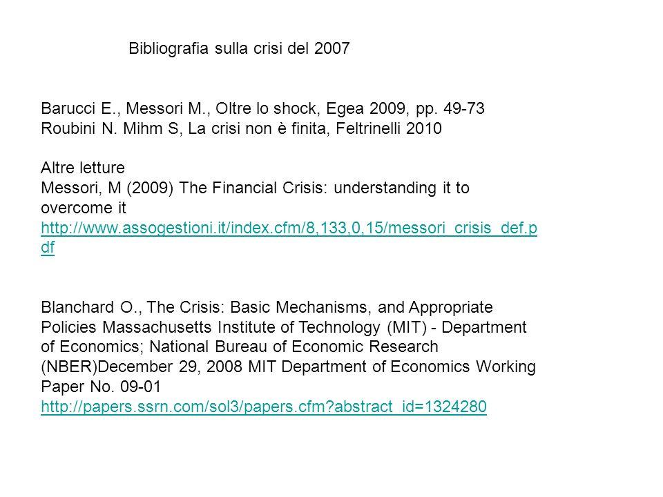 Bibliografia sulla crisi del 2007 Barucci E., Messori M., Oltre lo shock, Egea 2009, pp. 49-73 Roubini N. Mihm S, La crisi non è finita, Feltrinelli 2