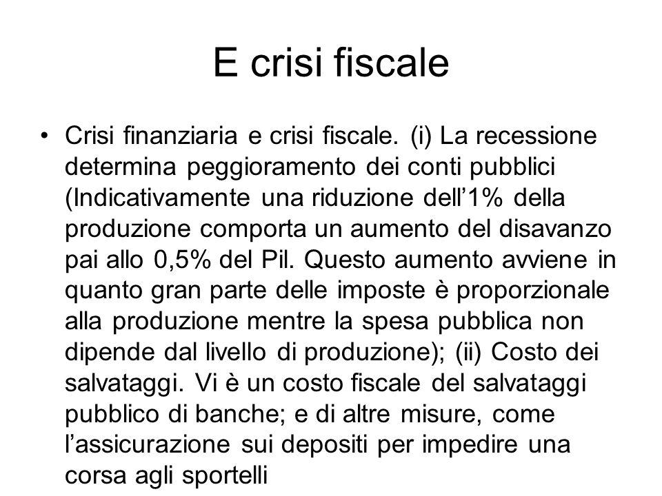 E crisi fiscale Crisi finanziaria e crisi fiscale. (i) La recessione determina peggioramento dei conti pubblici (Indicativamente una riduzione dell1%