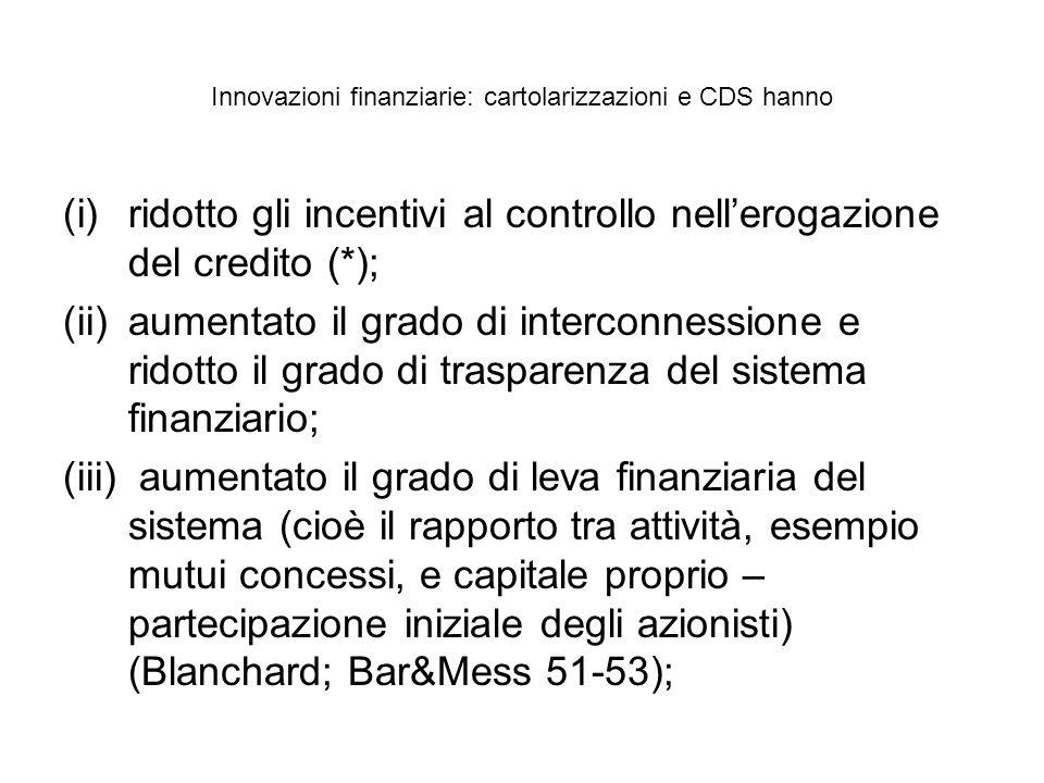 Innovazioni finanziarie: cartolarizzazioni e CDS hanno (i)ridotto gli incentivi al controllo nellerogazione del credito (*); (ii)aumentato il grado di interconnessione e ridotto il grado di trasparenza del sistema finanziario; (iii) aumentato il grado di leva finanziaria del sistema (cioè il rapporto tra attività, esempio mutui concessi, e capitale proprio – partecipazione iniziale degli azionisti) (Blanchard; Bar&Mess 51-53);