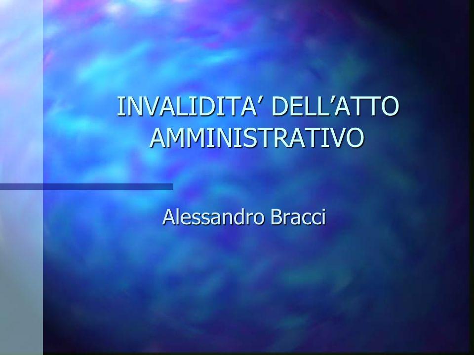 INVALIDITA DELLATTO AMMINISTRATIVO INVALIDITA DELLATTO AMMINISTRATIVO Alessandro Bracci Alessandro Bracci