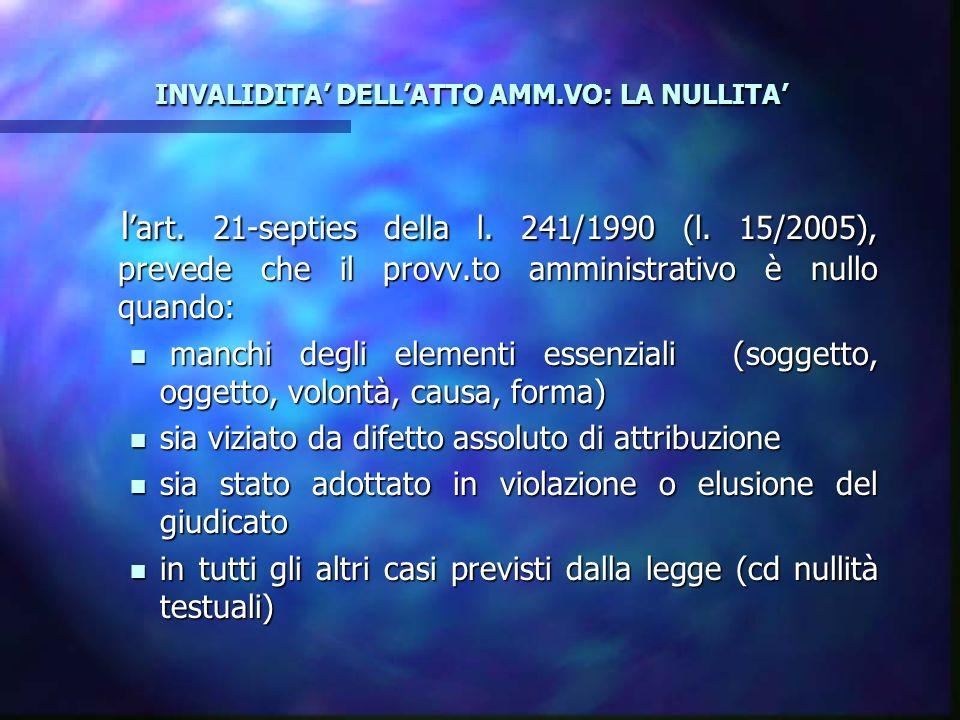 INVALIDITA DELLATTO AMM.VO: LA NULLITA INVALIDITA DELLATTO AMM.VO: LA NULLITA l art. 21-septies della l. 241/1990 (l. 15/2005), prevede che il provv.t