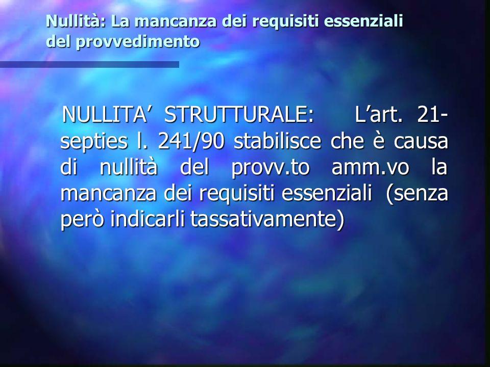 Nullità: La mancanza dei requisiti essenziali del provvedimento Nullità: La mancanza dei requisiti essenziali del provvedimento NULLITA STRUTTURALE: L