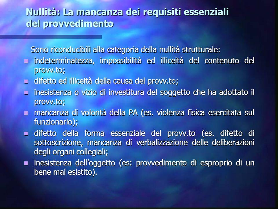 Nullità: La mancanza dei requisiti essenziali del provvedimento Nullità: La mancanza dei requisiti essenziali del provvedimento Sono riconducibili all