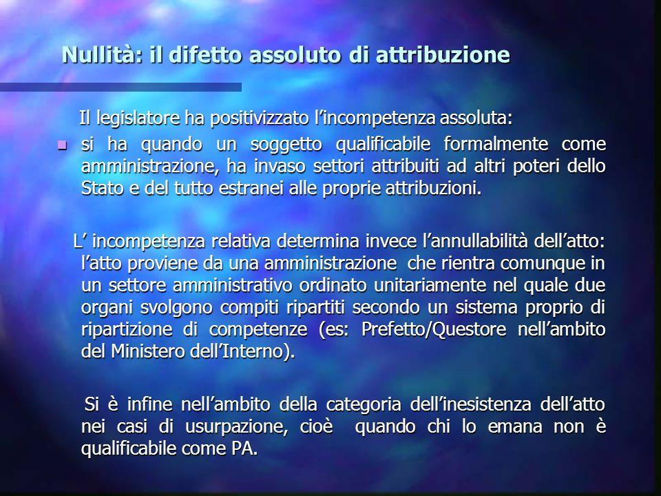 Nullità: il difetto assoluto di attribuzione Nullità: il difetto assoluto di attribuzione Il legislatore ha positivizzato lincompetenza assoluta: Il l