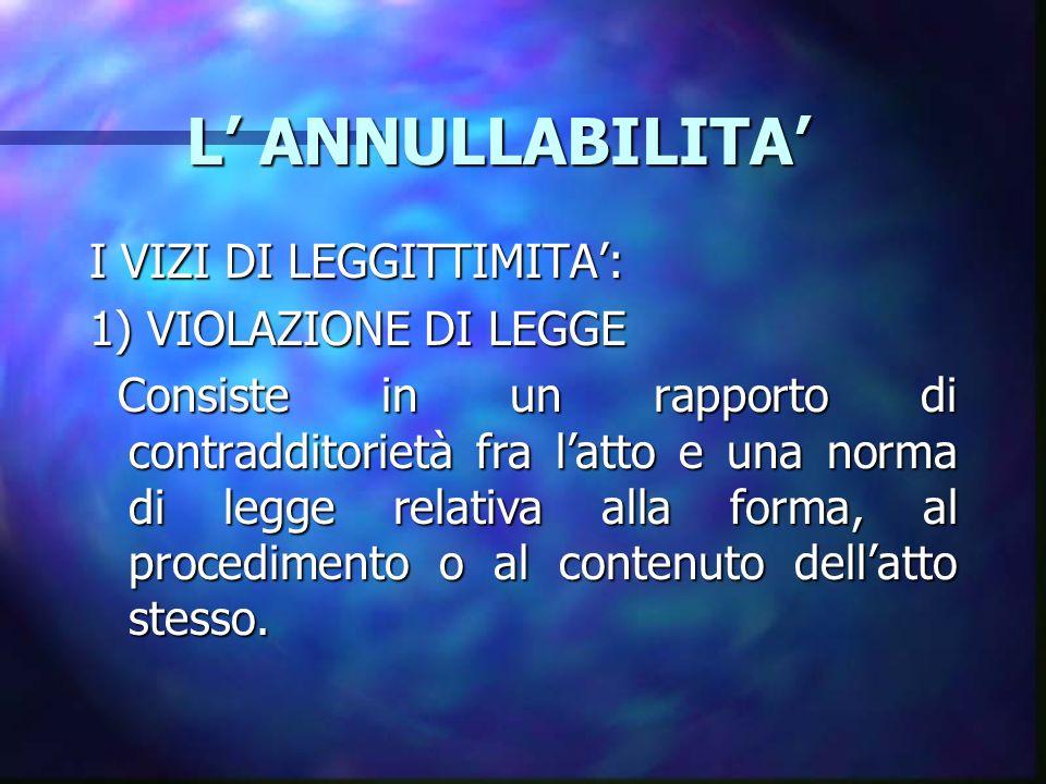 L ANNULLABILITA L ANNULLABILITA I VIZI DI LEGGITTIMITA: 1) VIOLAZIONE DI LEGGE Consiste in un rapporto di contradditorietà fra latto e una norma di legge relativa alla forma, al procedimento o al contenuto dellatto stesso.