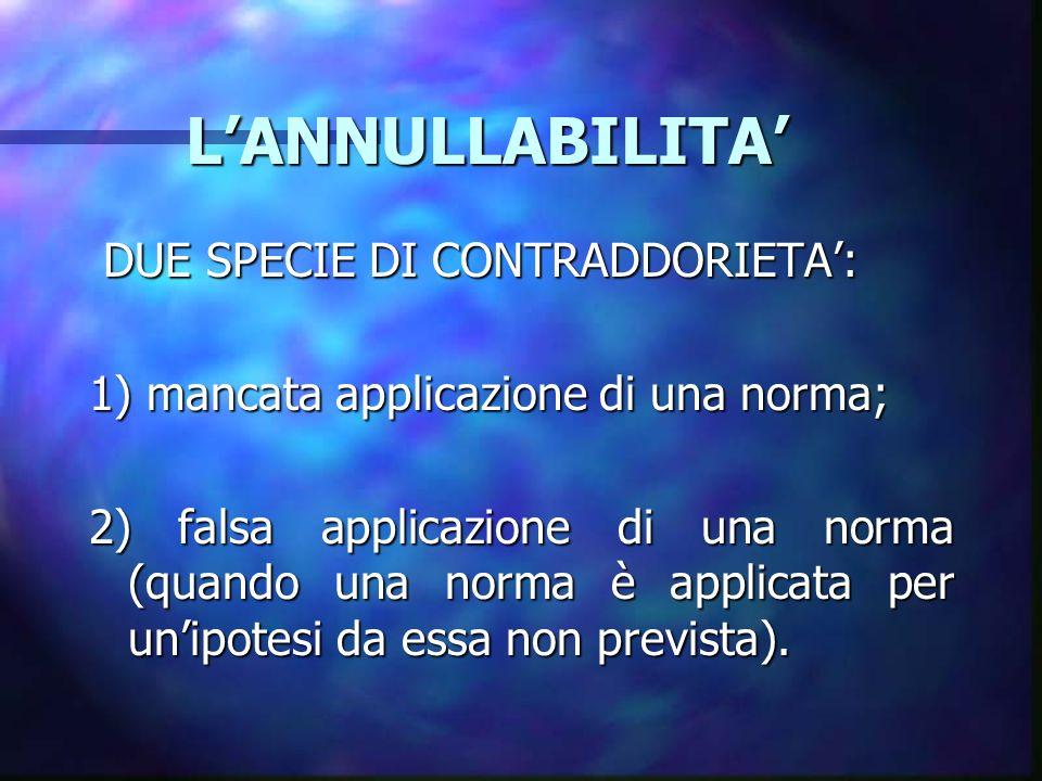 LANNULLABILITA LANNULLABILITA DUE SPECIE DI CONTRADDORIETA: DUE SPECIE DI CONTRADDORIETA: 1) mancata applicazione di una norma; 2) falsa applicazione di una norma (quando una norma è applicata per unipotesi da essa non prevista).