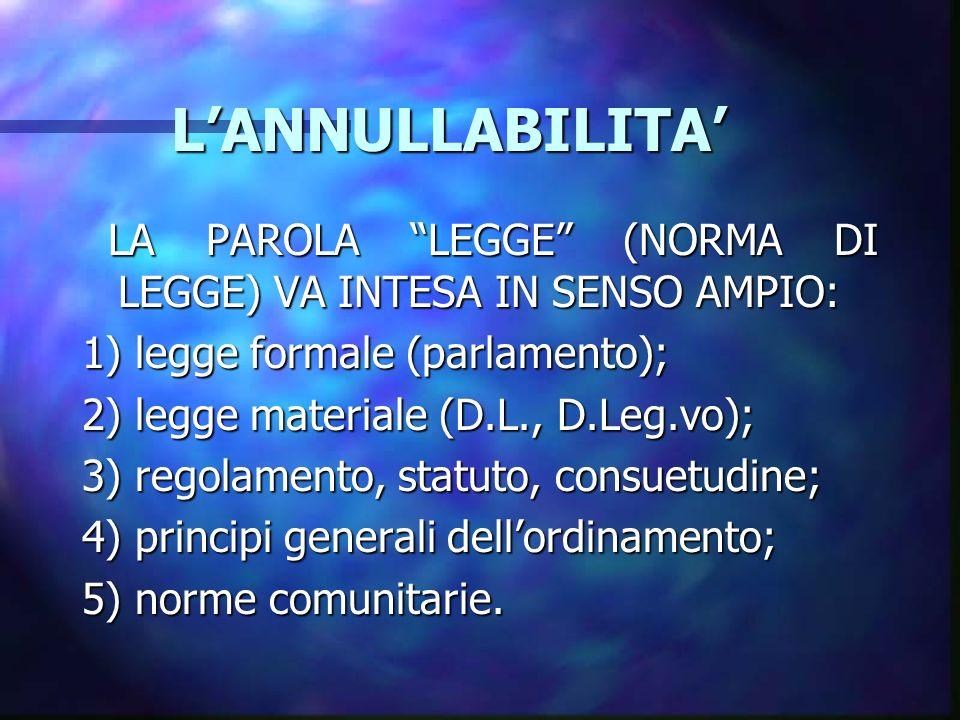 LANNULLABILITA LANNULLABILITA LA PAROLA LEGGE (NORMA DI LEGGE) VA INTESA IN SENSO AMPIO: LA PAROLA LEGGE (NORMA DI LEGGE) VA INTESA IN SENSO AMPIO: 1) legge formale (parlamento); 2) legge materiale (D.L., D.Leg.vo); 3) regolamento, statuto, consuetudine; 4) principi generali dellordinamento; 5) norme comunitarie.