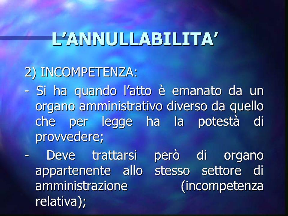 LANNULLABILITA LANNULLABILITA 2) INCOMPETENZA: - Si ha quando latto è emanato da un organo amministrativo diverso da quello che per legge ha la potest