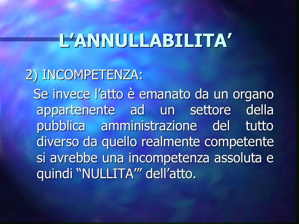 LANNULLABILITA LANNULLABILITA 2) INCOMPETENZA: Se invece latto è emanato da un organo appartenente ad un settore della pubblica amministrazione del tu
