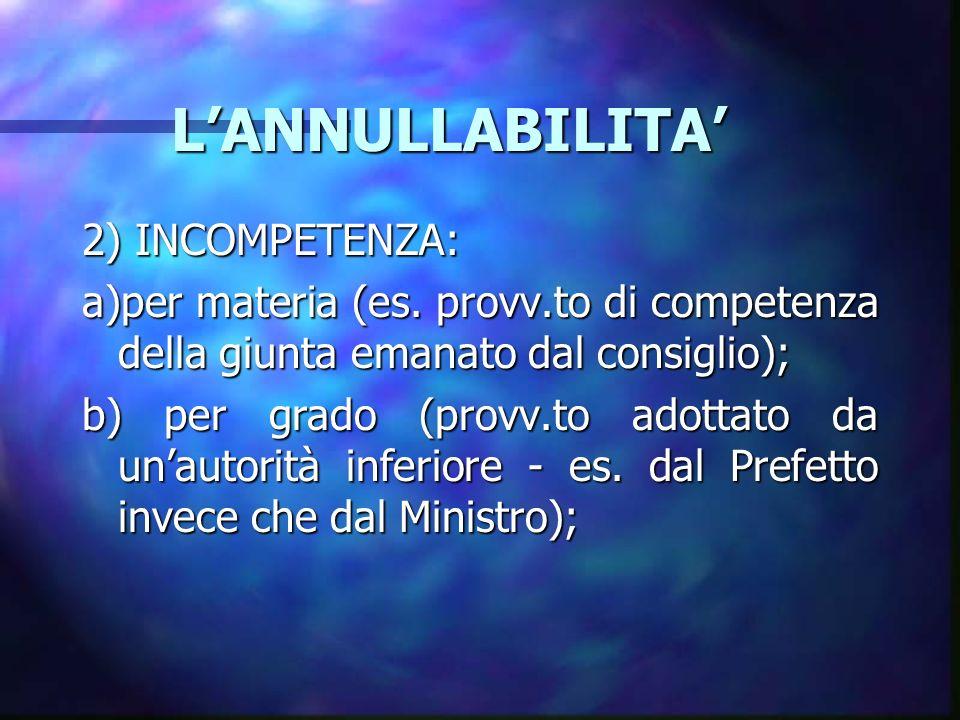 LANNULLABILITA LANNULLABILITA 2) INCOMPETENZA: a)per materia (es. provv.to di competenza della giunta emanato dal consiglio); b) per grado (provv.to a