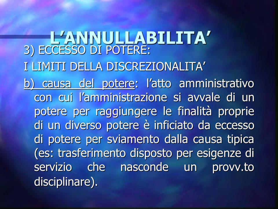 LANNULLABILITA LANNULLABILITA 3) ECCESSO DI POTERE: I LIMITI DELLA DISCREZIONALITA b) causa del potere: latto amministrativo con cui lamministrazione
