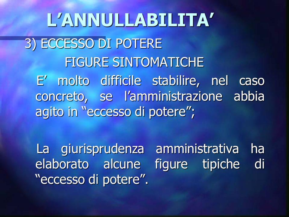 LANNULLABILITA LANNULLABILITA 3) ECCESSO DI POTERE FIGURE SINTOMATICHE FIGURE SINTOMATICHE E molto difficile stabilire, nel caso concreto, se lamminis