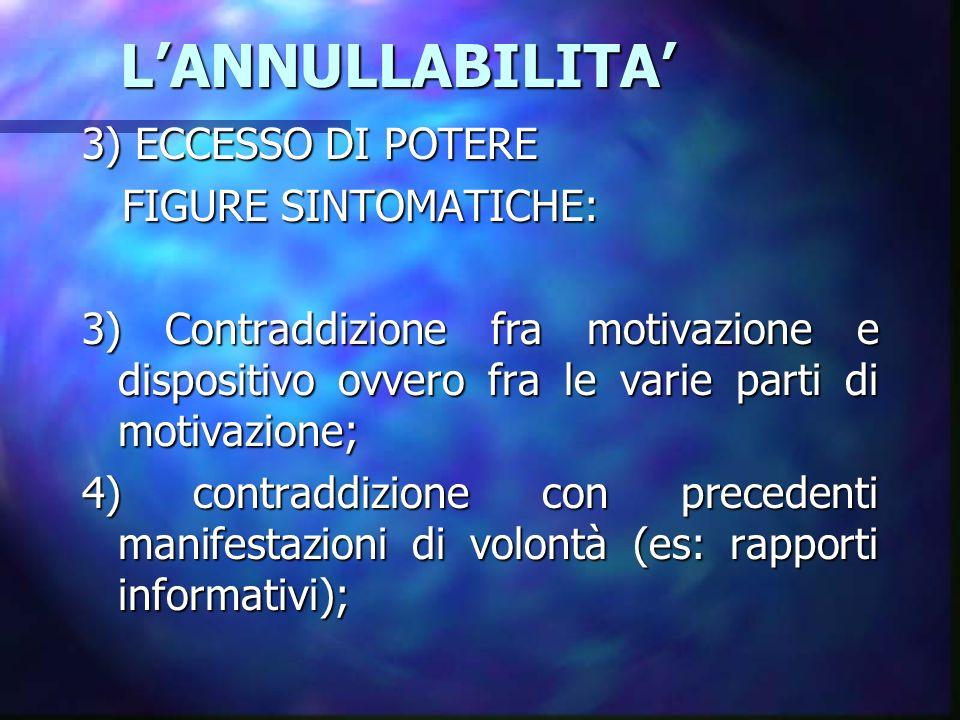 LANNULLABILITA LANNULLABILITA 3) ECCESSO DI POTERE FIGURE SINTOMATICHE: FIGURE SINTOMATICHE: 3) Contraddizione fra motivazione e dispositivo ovvero fr