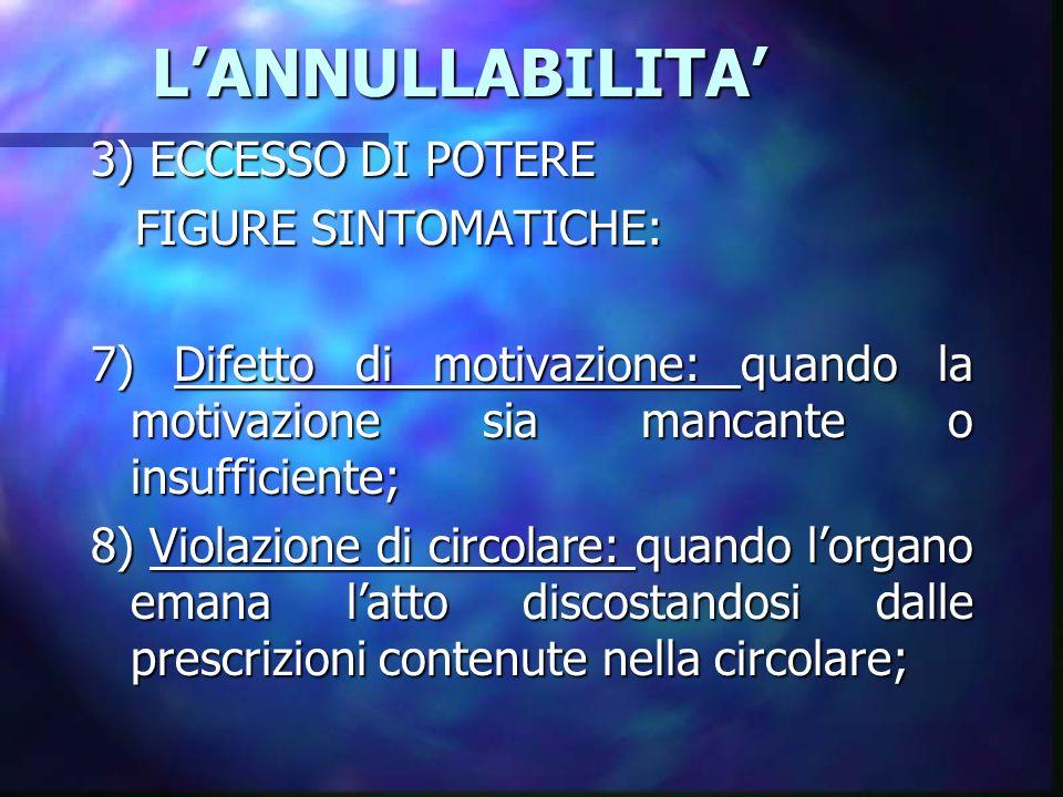 LANNULLABILITA LANNULLABILITA 3) ECCESSO DI POTERE FIGURE SINTOMATICHE: FIGURE SINTOMATICHE: 7) Difetto di motivazione: quando la motivazione sia manc