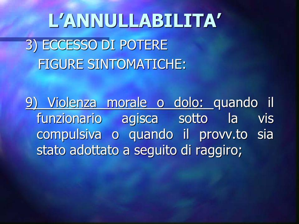LANNULLABILITA LANNULLABILITA 3) ECCESSO DI POTERE FIGURE SINTOMATICHE: FIGURE SINTOMATICHE: 9) Violenza morale o dolo: quando il funzionario agisca s