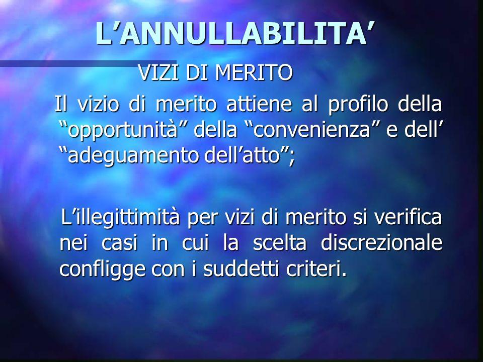 LANNULLABILITA LANNULLABILITA VIZI DI MERITO Il vizio di merito attiene al profilo della opportunità della convenienza e dell adeguamento dellatto; Il